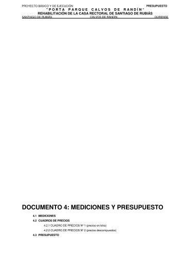 DOCUMENTO 4: MEDICIONES Y PRESUPUESTO