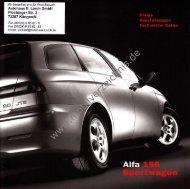 Preisliste Alfa Romeo 156 Sportwagon, 9/2002 - mobilverzeichnis.de