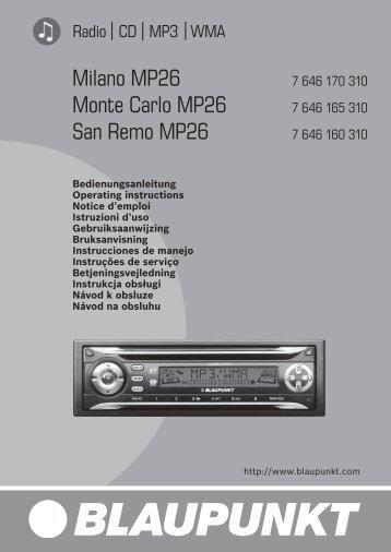 Milano MP26 Monte Carlo MP26 San Remo MP26 - Blaupunkt