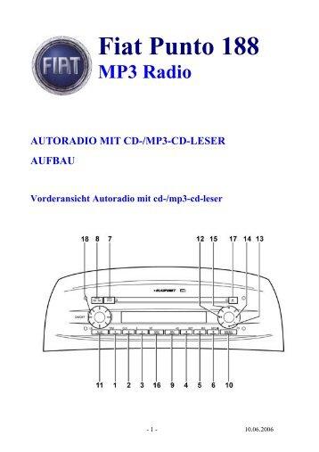 Fiat Punto 188 MP3 Radio AUTORADIO MIT CD ... - AutoExtrem.de