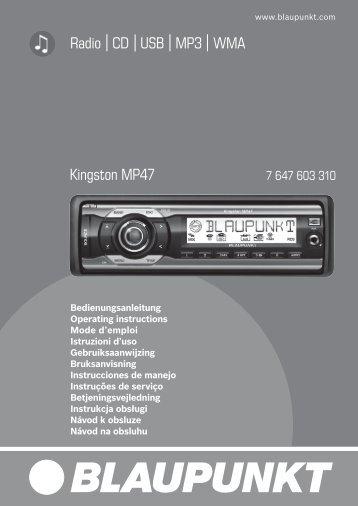 Radio CD USB MP3 WMA Kingston MP47 - Blaupunkt