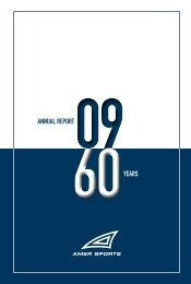 ANNUAL REPORT YEARS - Amer Sports