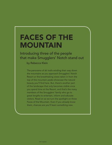 Faces oF the Mountain - Smugglers' Notch