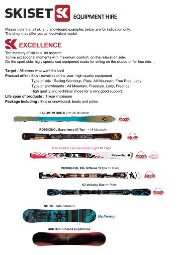 EQUIPMENT HIRE EXCELLENCE - Ski Planet