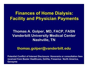 Finances of Home Dialysis: Facility and Physician Payments