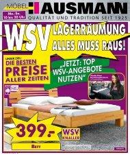 """""""JETZT: TOP WSV-ANGEBOTE NUTZEN"""" WSV - Möbel Hausmann"""