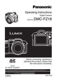 DMC-FZ18 - Operating Manuals for Panasonic Products - Panasonic