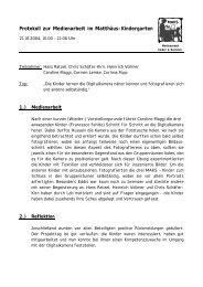 Protokoll zur Medienarbeit im Matthäus-Kindergarten - Mediaculture ...