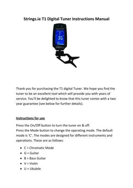 Strings ie T1 Digital Tuner Instructions Manual