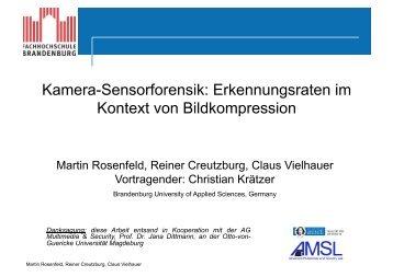 Kamera-Sensorforensik: Erkennungsraten im Kontext von ...