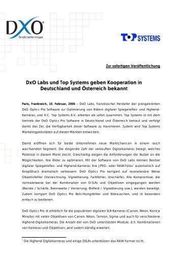 DxO Labs und Top Systems geben Kooperation in Deutschland und ...