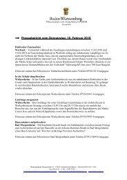 Pressebericht vom Donnerstag, 18. Februar 2010 - Polizeidirektion ...
