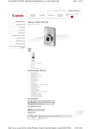 Canon IXUS 500 HS Technische Daten Seite 1 von 4 Canon IXUS ...