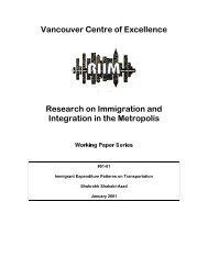 Immigrant Expenditure Patterns on Transportation - Metropolis BC