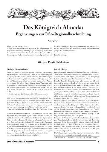 Das Königreich Almada: Ergänzungen zur DSA ...
