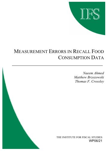 Measurement errors in recall food consumption data - Institute for ...