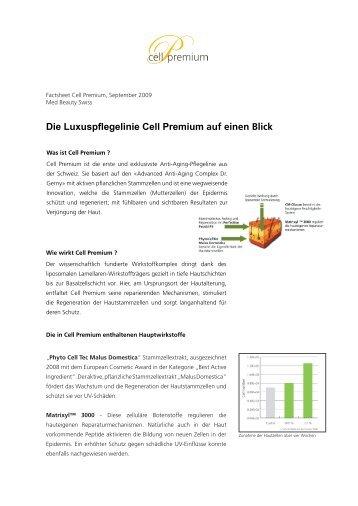 Die Luxuspflegelinie Cell Premium auf einen Blick - Righetti & Partner