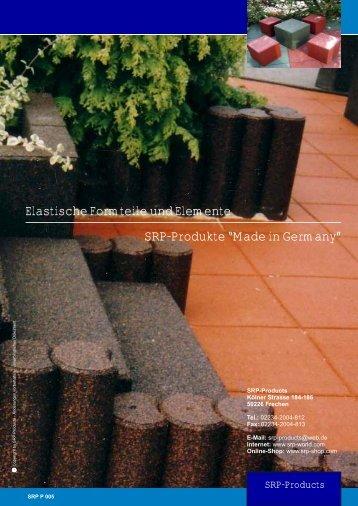 """Elastische Formteile und Elemente SRP-Produkte """"Made in Germany"""""""