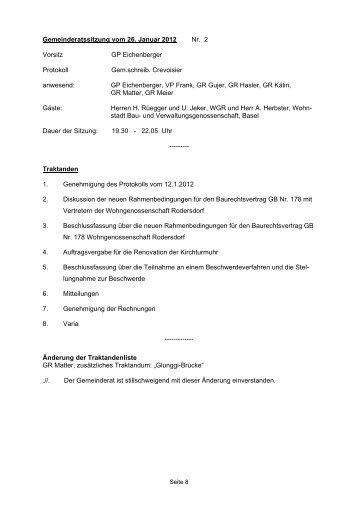 Gemeinderatssitzung vom 26. Januar 2012 Nr. 2 ... - in Rodersdorf