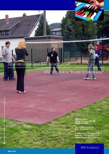 """Spieleplatten und Ballspielmatten SRP-Produkte """"Made in Germany"""""""