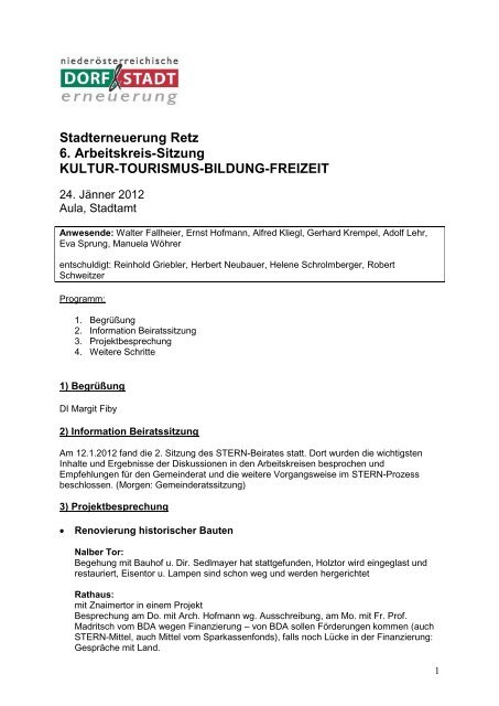 Stadterneuerung Retz 6. Arbeitskreis-Sitzung KULTUR ...