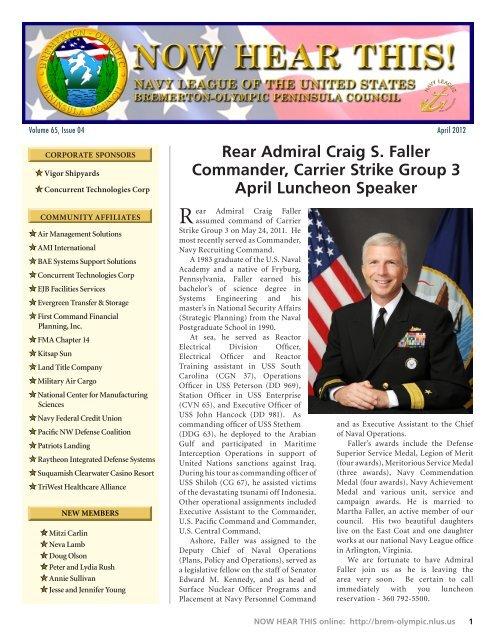 Rear Admiral Craig S  Faller Commander, Carrier     - Get a