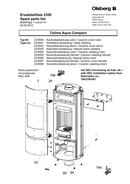 Ersatzteilliste 2350 Spare Parts List Tolima Aqua Compact