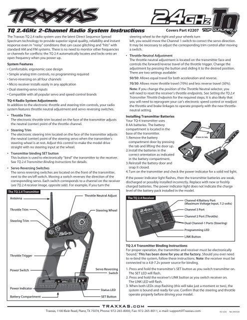 TQ 2 4GHz 2-Channel Radio System Instructions - Traxxas