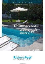 Preisliste von Modena und Marina Style von Riviera Pool