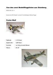 Baubericht GFK-Modell Focke Wulf Teil 1