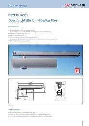 GEZE TS 5000 L Obentürschließer für 1-flügelige Türen