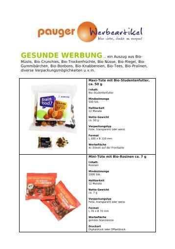 Gesunde Werbung - Werbeartikel Pauger Werbeartikel in ...