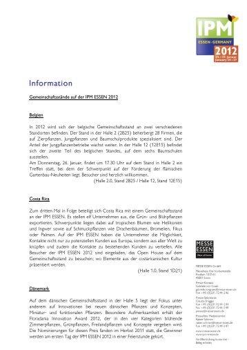 Gemeinschaftsstände auf der IPM ESSEN 2012 Belgien In ... - Security