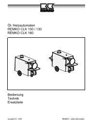 Öl- Heizautomaten REMKO CLK 100 / 130 REMKO CLK 160 ...