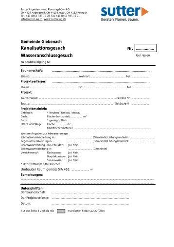 Kanalisationsgesuch - Gemeinde Giebenach