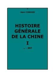 HISTOIRE GÉNÉRALE DE LA CHINE I - Psychaanalyse