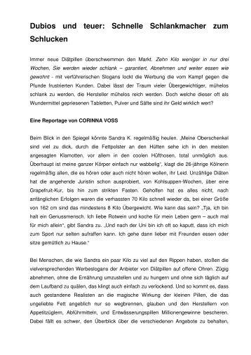 Dubios und teuer: Schnelle Schlankmacher zum ... - Corinna Voss