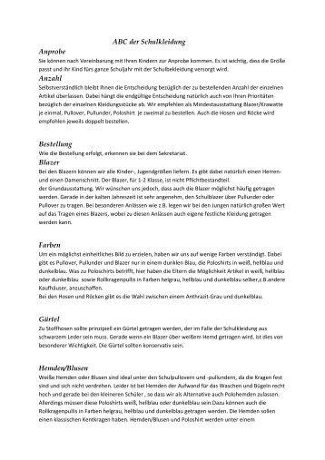 ABC der Schulkleidung - Private Goethe - Grundschule Berlin