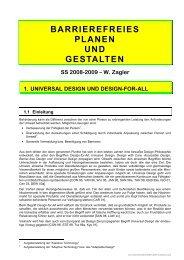 BARRIEREFREIES PLANEN UND GESTALTEN SS 2008-2009 – W ...