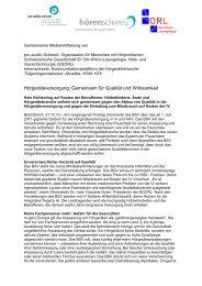 Hörgeräteversorgung: Gemeinsam für Qualität und Wirksamkeit