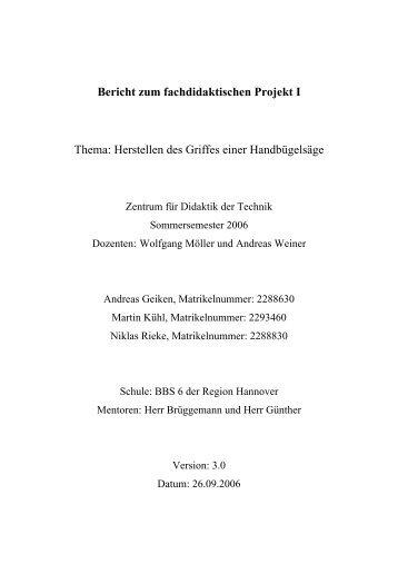 Bericht zum fachdidaktischen Projekt I - Zentrum für Didaktik der ...