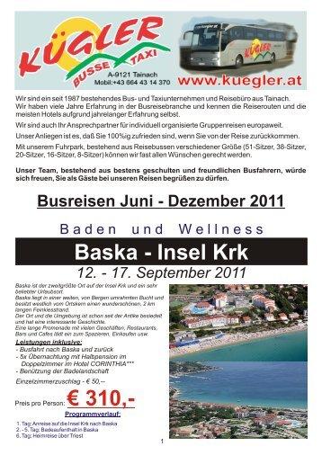 18. März 2012 Plitvicer Seen - Zagreb - Karlovac ... - Kügler Busreisen