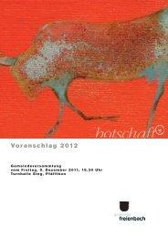 Voranschlag 2012 [PDF, 2.00 MB] - Gemeinde Freienbach