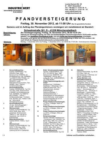 PFANDVERSTEIGERUNG Freitag, 30. November 2012, ab 11:00 Uhr