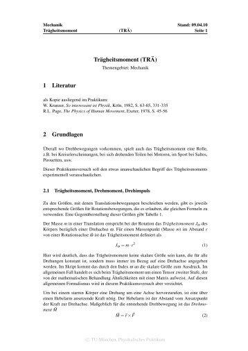 Trägheitsmoment (TR ¨A) 1 Literatur 2 Grundlagen
