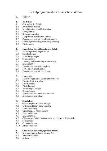 Schülerfragebogen Grundschule Wohra