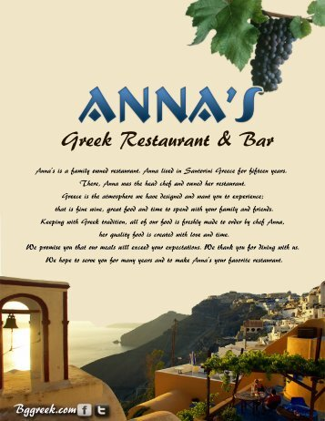 Menu - Anna's Greek Restaurant