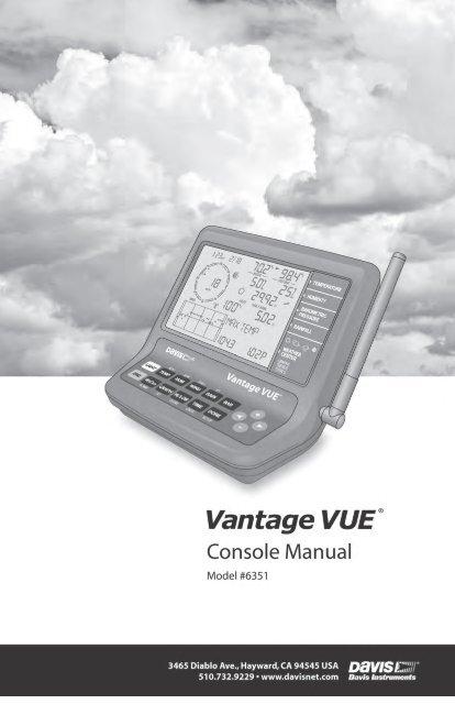 Clear all command | davis vantage vue wireless console manual user.