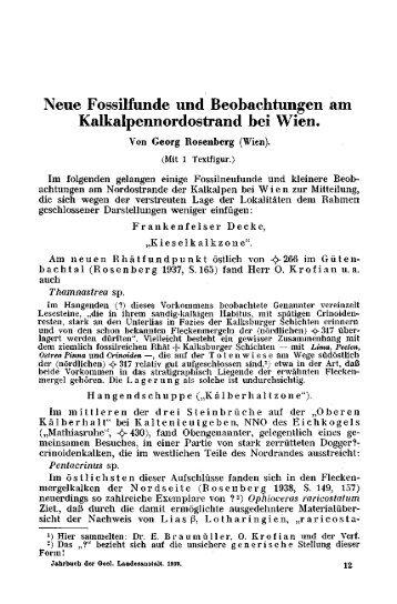 Neue Fossilfunde und Beobachtungen am Kalkalpennordostrand ...