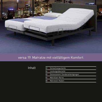 versa 19. Matratze mit vielfältigem Komfort. - swissflex-online
